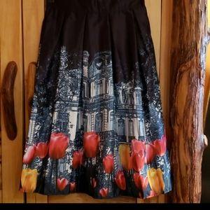 Castle in the garden pleated midi skirt